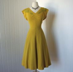 vintage 1940s dress ...designer justin mccarty dallas golden rayon with green soutache and rhinestone embellishment