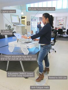 The OMBEE is a portable modular standing desk that will be crowdfunding soon.