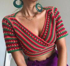Débardeurs Au Crochet, Crochet Bolero, Crochet Coat, Single Crochet Stitch, Crochet Crop Top, Crochet Cardigan, Love Crochet, Vintage Crochet, Crochet Clothes