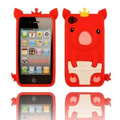 BYG Red 3D Pig Cartoon Animal Silicone Case Cover for Iphone 4/4G 4S + Gift 1pcs Phone Radiation Protection Sticker by animal devise, http://www.amazon.com/dp/B00CMSM32G/ref=cm_sw_r_pi_dp_mOPHrb04TGH3Z