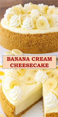 Welcome to my article, here is your family's favorite food and drink! BANANA CREAM CHEESECAKE This Banana Cream Cheesecake Recipe is made with a fresh banana cheesecake topped with banana bavarian cream! It's smooth, creamy & full of banana flavor! Cheesecake Factory Recipes, Cheesecake Toppings, Cream Pie Recipes, Easy Cheesecake Recipes, Banana Recipes, Dessert Recipes, Healthy Cheesecake, Trifle Desserts, Chef Recipes
