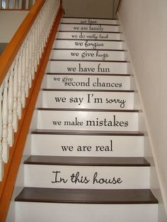 In this house - Staircase Vinyl Decal | #VillageVinePress #Etsy Great idea to print and put on a frame! :)