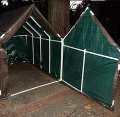 Create a small shed/overhang with pvc pipes and tarp to protect my potting bench in winter!