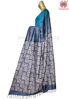 Handloom Grey Color Tasar Sari and Designer grey color saree from kamaniya Online.All silk sarees are hand kantha worked on the border, border and body.