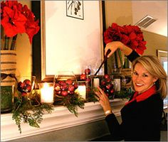 Tall vases w/ amaryllis for mantle (minus ugly ribbons) Green Christmas, Winter Christmas, Christmas Holidays, Christmas Ideas, Xmas, Christmas 2019, Happy Holidays, Merry Christmas, Christmas Mantels