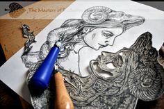 Lady-Aries:Working over #linocut #handmade #calendar for next year (#art #artinprogress #linoprint #print)