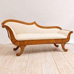 Swedish Biedermeier Upholstered Divan or Meridienne in Birch,  c. 1820 image 2