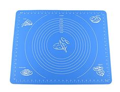 iGuerburn Silicone Baking Pastry Mat with Measurement NonStick Pastry Dough Sheet196 X 157 Blue ** Click image for more details.