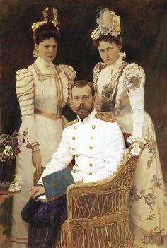 Portrait of Tsar Nicholas II, Tsaritsa Alexandra Feodorovna and Grand Duchess Elizabeth Feodorovna by Dmitri Belyukin,