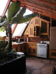 Earth Ship Kitchen - Lots of natural light!