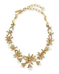 OSCAR DE LA RENTA Swarovski® Pearl Flower Necklace. #oscardelarenta #