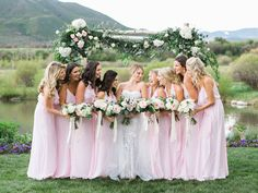 We loved how these pastel pink bridesmaid dresses turned out! Aspen Colorado weddings with @goldleafevent