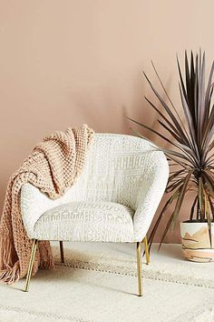 Shop the Look from Pretty Perceptions on ShopStyle - Anthropologie Rosa Print Hillside Accent Chair . Scandinavian Chairs, Scandinavian Interior Design, Modern Interior Design, Boho Accent Chair, Accent Chairs, White Accent Chair, Velvet Accent Chair, Anthropologie Home, Anthropologie Furniture