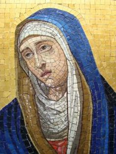 Antique Mosaic Depicting The Grieving Madonna
