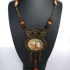 """Collier japonisant """" okasan """" pierres gemmes jaspe,métal bronze,cabochon de verre illustré"""