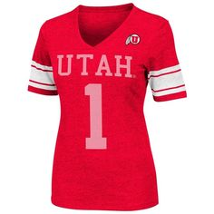 Colosseum Utah Utes Rebel Burnout Tee - Women's ($25) ❤ liked on Polyvore featuring tops, t-shirts, red t shirt, v neck tee, striped v neck t shirt, short sleeve v neck tee and short sleeve tee