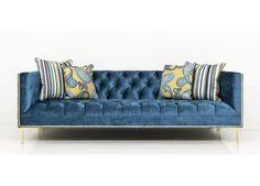 Frameless Koenig Sofa in Turquoise Velvet