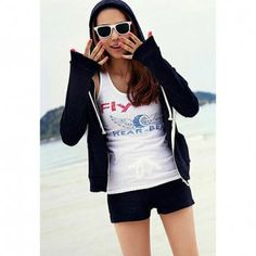 Casual Style Loose-Fitting Long Sleeves Short Pants Cotton Blend Women's Hoodie Suit, BLACK