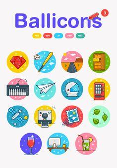 Ballicons flat icon set: colorful free vector set in SVG, AI, EPS Vector Icons, Vector Free, Interface Web, Wordpress, Cute Icons, App Development, Icon Set, Logos, Icon Design