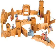 Small Alder Wood Castle and Knight Figures