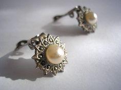 Marcasite earrings, Bridal Earrings, Pearl Earrings, Vintage Jewelry   CrystalPearl - Wedding on ArtFire #afpounce