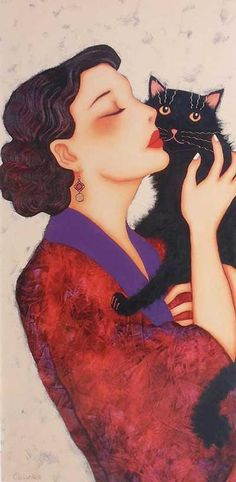 Lady with her black cat