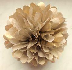 1 GOLD Tissue Paper Pom Pom  Wedding Decoration  by PaperPomPoms
