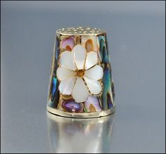 RP: Vintage Mexico Flower Mother Of Pearl Silver Thimble.
