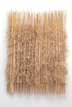 """LATE GRASSES   Lewis Knauss  woven, pile, knotted hemp, linen, paper twine, bamboo, acrylic paint  27"""" x 22"""" x 2""""  2010"""