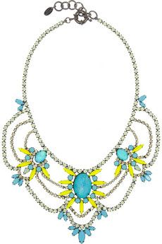 Elizabeth Cole Swag hematite-plated multi-stone necklace | THE OUTNET $250.
