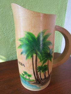 Bamboo Mosa Juice Pitcher Vintage Florida Kitsch Souvenir Palm Tree Beach Hand Painted by FabulousVintageHats on Etsy