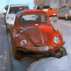 "Daily Paintworks - ""Bug in Shadow"" - Original Fine Art for Sale - © Carol Marine Landscape Art, Landscape Paintings, Landscapes, Car Painting, Shadow Painting, Paintings I Love, Small Paintings, Still Life Art, Anime Comics"