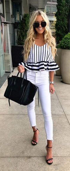 #blackandwhite #stripes Ruffle #top #white #denim #jeans #Black #handbags And #sunglasses #summeroutfit #womensfashion #summerfashion #summerstyle #summer
