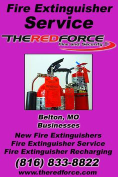 Fire Extinguisher Service Belton, MO (816) 833-8822 Call the Experts at The Red Force Fire and Security.. We are the complete source for Fire Extinguisher Service for Local Missouri Businesses We would love to hear from you.. Call us Today!