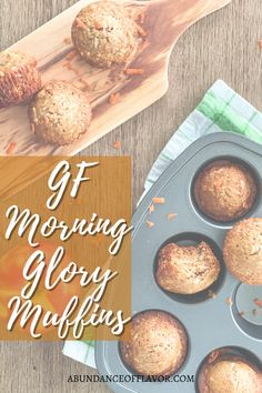 Gluten-Free Morning Glory Muffins are incredibly moist and packed with loads of flavor and an assortment of carrots, nuts, apples, and more! Healthy Cooking, Healthy Eating, Delicious Desserts, Dessert Recipes, Morning Glory Muffins, Gluten Free Flour, Healthy Options, Sweet Tooth, Nutrition
