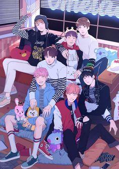 BTS FANARTS - Fanarts made for all the Armys we love BTS ♥ # Random # amreading # books # wattpad - Bts Chibi, Foto Bts, Bts Suga, Bts Bangtan Boy, Jikook, Namjoon, Taehyung, Bts Anime, Fanart Bts