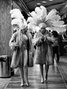 showgirls | feathers | backstage | fur | black & white | performers |