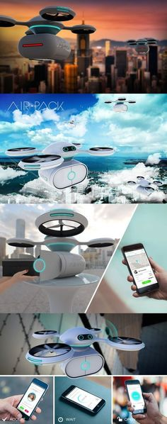 futuristic --Big corporations have been toying with the idea of taking to the skies to get goods to consumers. Even Pizza Hut played with the idea of delivering via drone! But how might drones assist an everyday exchange between neighbors? The AIR PACK drone aims to b.-- drone controlled by drone