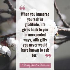 """When you immerse yourself in gratitude, life gives back to you in unexpected ways, with gifts you never would have known to ask for."" StrongSensitiveSouls.com"