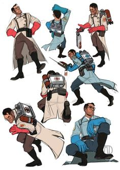 TF2 Medic Sketches - Original Artist Unknown ( Pinned by @GreyRose_ ) #Medic…