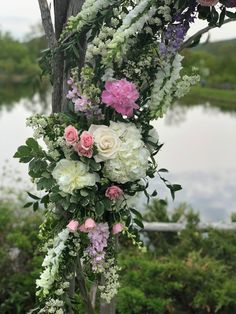 Pink and white wedding flowers. Ceremony arbor at The Ponds at Bolton Valley - Floral Artistry - floralartvt.com #vermontwedding #vermontweddingflowers #floraldesign #floralpreneur Pink And White Weddings, White Wedding Flowers, Fresh Flowers, Beautiful Flowers, Wedding Planning Tips, Ponds, Vermont, Flower Designs, Floral Design