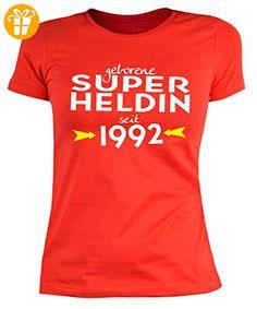 Damen T-Shirt zum Geburtstag: Geborene Super Heldin seit 1992 - Tolle  Geschenkidee -