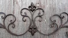 Cast Iron wall decor Fleur de Lis scrolls by Cottagexpressions - $30