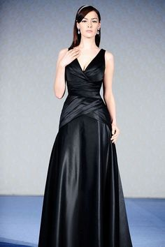 V-neck satin bridesmaid dress with dropped waist