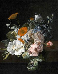 Rachel Ruysch Still-Life of Flowers 1695 Baroque Rachel Ruysch was a still-life painter from the Northern Netherlands who specialized in flowers.