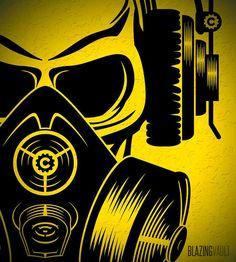 I love music...MUSIC LOVER!  Bold Design:  Skull Wearing Headphones & Gas Mask Vinyl Wall Decal