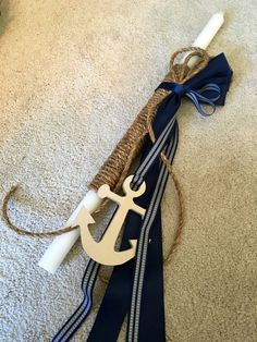 Nautical Rope Greek Orthodox Baptism Lambada Set by KoulEvents Long Candles, Greek Easter, Nautical Rope, Easter Crafts, Lovely Things, Christening, Buy And Sell, Soap, Baby Shower