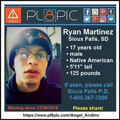 Missing from Sioux Falls, South Dakota, 17 year old Ryan Martinez   PL8PIC