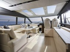 The flexible enclosed deck saloon of the Princess can be climate controlled or opened to the elements via triple sliding aft doors and a retractable sunroof Yacht Interior, Interior Design, Princess Yachts, Sport Yacht, Yacht Design, Luxury Yachts, Outdoor Living, Design Inspiration, Lifestyle