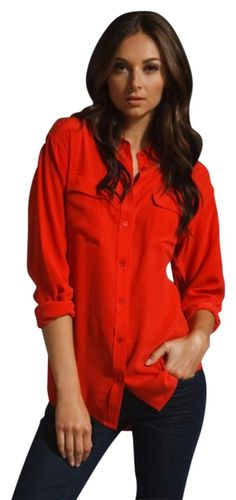 Equipment Tomato Red Signature Washed-silk Shirt Top. Free shipping and guaranteed authenticity on Equipment Tomato Red…